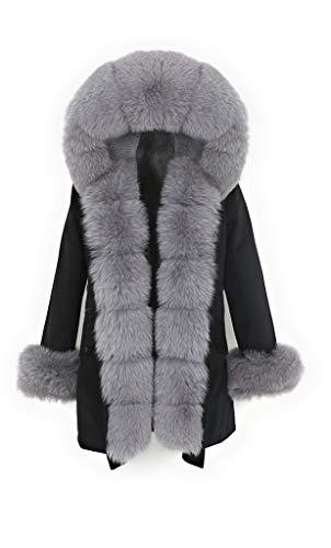 Lea Marie Bubble Parka XXL Kragen aus 100% ECHTPELZ ECHTFELL Jacke Mantel Pelztresse (Schwarz/Grau, XL)