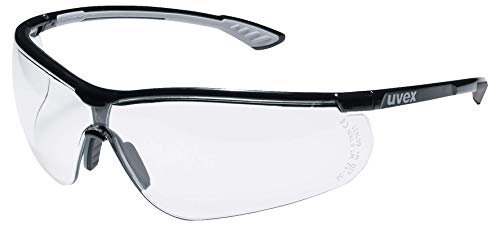 Uvex Sportstyle Schutzbrille - Transparente Arbeitsbrille - Schwarz-Weiß