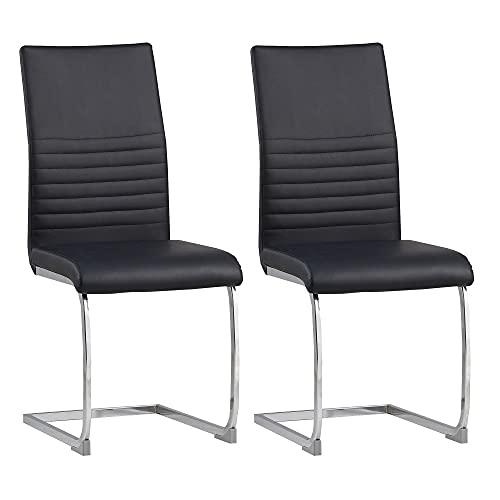 Albatros silla cantilever BURANO Set de 2 sillas Negro, SGS probado