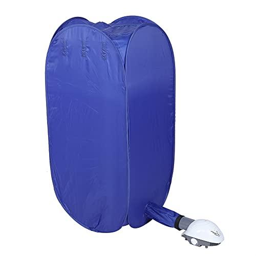 Jopwkuin Estante para Secadora De Ropa EléCtrica, Secadora De Ropa PortáTil para El Hogar, Secadora De Ropa Plegable De Bajo Ruido, Secadora Multifuncional para Zapatos De Ropa Interior Seca(Azul)