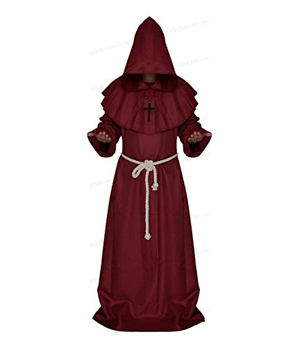 Keephen Halloween Carnival Party Cosplay Tnica Cape Medieval Renacimiento con Capucha Monje Costume
