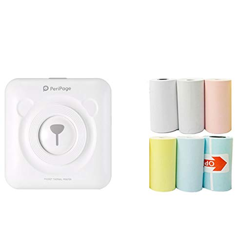Térmica Portátil Bluetooth Impresora Mini Inalámbrica USB Recargable POS Imagen Foto Para Teléfono con 6 Rollos de Papel de Impresión (Blanco)
