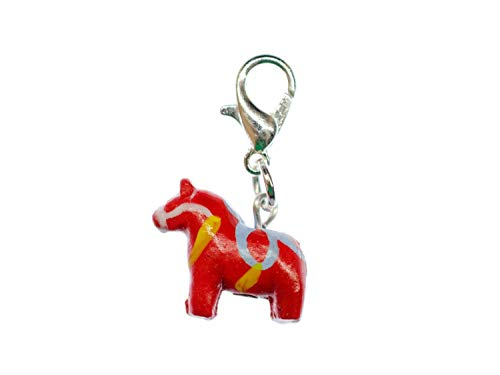 Miniblings Dalapferd Dala Pferd Schwedenpferd Schweden Charm Dalahäst schwedisch rot Keramik - Handmade Modeschmuck I Kettenanhänger versilbert - Bettelanhänger Bettelarmband - Anhänger für Armband