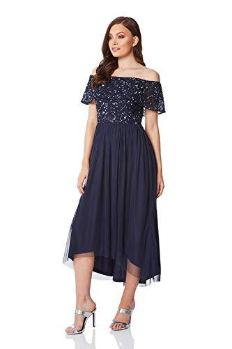 Roman Originals Damen Midi-Kleid mit Bardot-Ausschnitt und Pailletten - Damen Asymmetrisches Kleid, abends, Ballkleid, Partys, Kreuzfahrt, verziert, schulterfrei - Marine-Blau - Größe 48