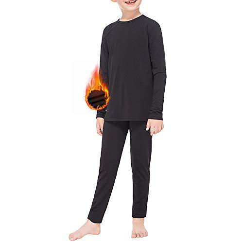 Subuteay Thermounterhose für Mädchen, mit Fleece gefüttert, lange Unterhose für Kinder, ultraweich - Schwarz - Mittel