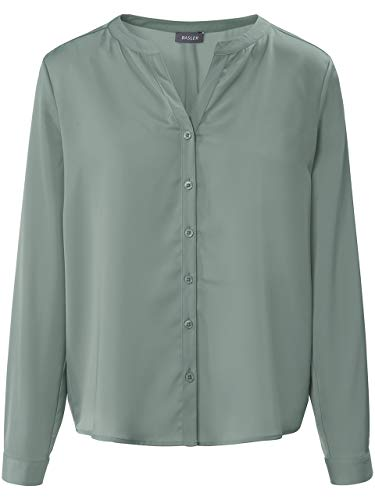Basler Damen Bluse mit Knopfleiste und Rundhalsausschnitt