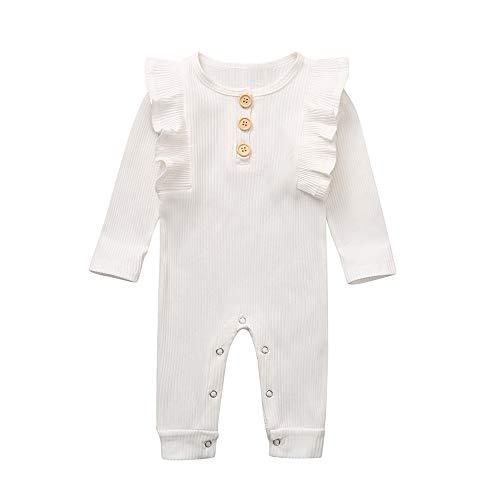 LEXUPE Mädchen Kleider Langarm Baumwolle Kinder Kleid Süßes Muster Gr.86-128(Weiß,90)