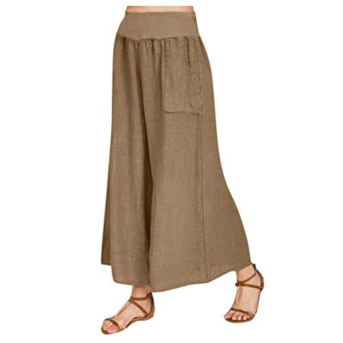aihihe Culottes for Women Plus Size High Waisted Cotton Linen Wide Leg Casual Gaucho Pants Palazzo Trousers Khaki