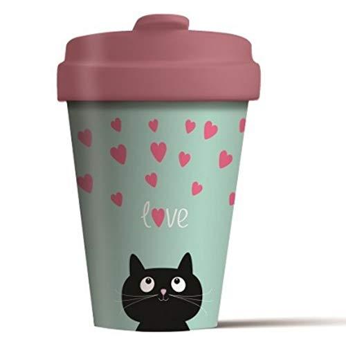 Taza de cafe para llevar con diseño Kitty Love. Gato Amor