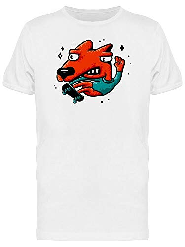 natürlich Red Dog Skateboarder Sticker Men's Tee Weiß M