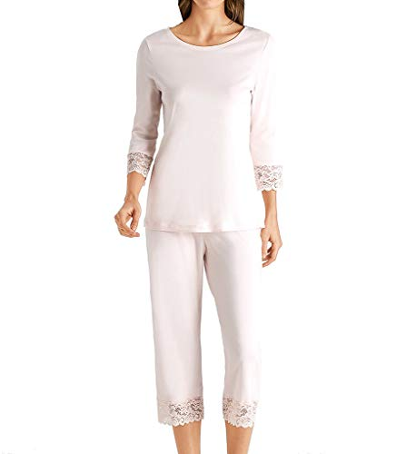 Hanro Damen Moments Nw Pyjama 3/4 Arm Zweiteiliger Schlafanzug, Rosa (Crystal Pink 1334), 40 (Herstellergröße: S)