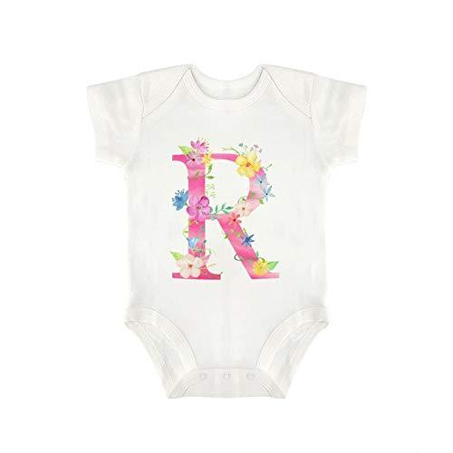 DKISEE Milu200 - Body de manga corta con diseño de flores de acuarela con letra R de algodón, para bebés de 6 a 9 meses, color blanco