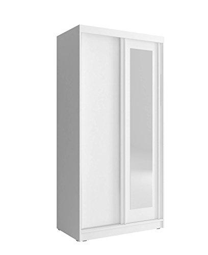 MEUBLO Armoire, Penderie avec 2 Portes coulissantes et Miroir (L x H x P): 100x206x62 Mono 100 (Blanc, 100 cm)