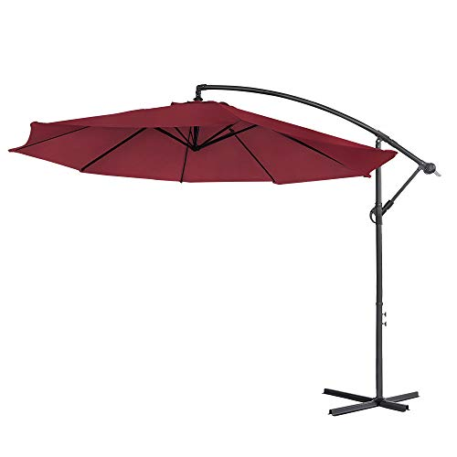 UISEBRT 350cm Alu Sonnenschirme höhenverstellbarer mit kurbel - Rot Gartenschirm Balkonschirm UV Schutz 40+ (350cm,Rot)