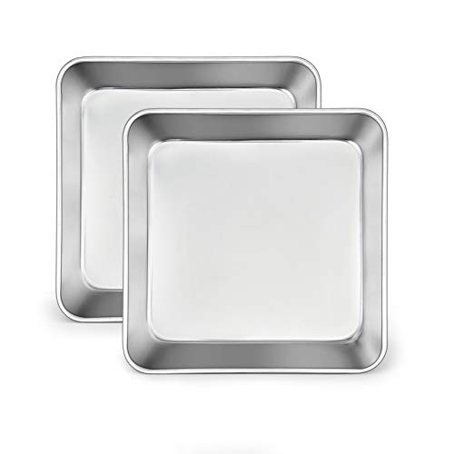 TeamFar 6 Inch Square Cake Pan, Stainless Steel Square Baking Pan for Lasagna Cake Brownie, Healthy & Heavy Duty, Dishwasher Safe & Easy Clean, Brushed Surface & Smooth Edge, Set of 2