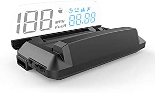 Car Head Up Display, iKiKin OBD2 GPS Car HUD with Reflection Board Display Speed RPM Voltage Alarm Heads Up Display (GPS S...