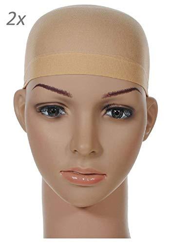 2 x LUTTMANN® Perücken Wig Cap Nylon Cap Lace Unterziehhaube in beige natural - für Perückenträger