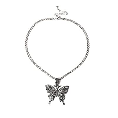 Nanafast Tennis Link Chain Butterfly Necklace Iced Out Zirconia Butterfly Pendent Hip Hop Choker Necklace for Women Girls-Black