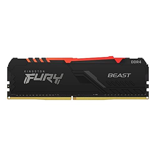 Kingston FURY Beast RGB 8GB 3200MHz DDR4 CL16 Memoria Gaming Kit per Computer Fissi Modulo Singolo, KF432C16BBA/8