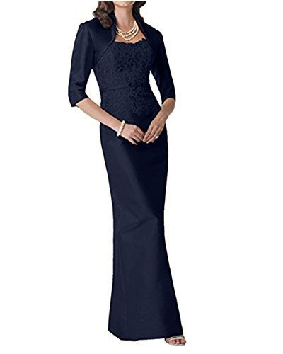 Alice Dressy Satin Bridal Mother Dress Prom Dress 3/4 Sleeves Lace Fest Formal Maxi Dresses Darkblue (Apparel)