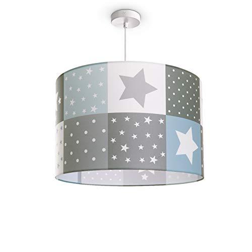 Paco Home Kinderlampe Deckenlampe LED Pendelleuchte Kinderzimmer Lampe Sternen Motiv E27, Lampenschirm:Blau (Ø45.5 cm), Lampentyp:Pendelleuchte Weiß