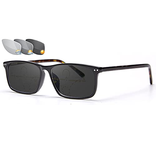 LGQ Gafas de Lectura multifocales progresivas Unisex Gafas de Sol ultraligeras y cómodas con Montura de Gafas de Sol fotocromáticas para Exteriores,Multi Colored,+1.00