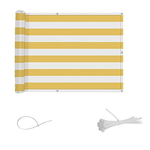 SUNNY GUARD Balkon Sichtschutz Balkonabdeckung HDPE UV-Schutz Windschutz Balkonverkleidung wetterfester mit Kabelbinder,75x400cm Gelb und Weiß