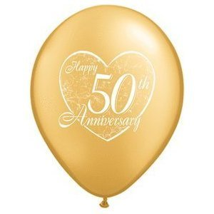 """(12) 50th Anniversary Latex Balloons 11"""" Gold Color and Heart Design"""