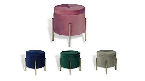 Avior Home Sitzhocker Schminkhocker aus Samt Sitzwürfel Aufbewahrungsfußhocker mit Metallbeine Rund (Pink)