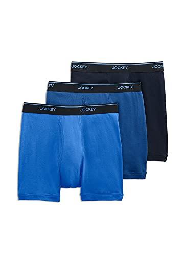 Jockey Men's Underwear Staycool Boxer Brief - 3 Pack, True Navy/Mimas Blue/Royal Blue, l