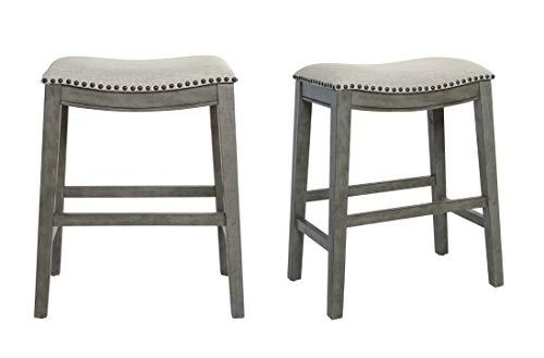 OSP Home Furnishings Saddle Stool with Antique Grey Base, 24-Inch, Grey Fabric