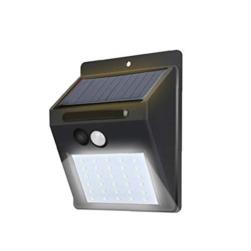 Solar Luces al aire libre 30 LED luces solares sin hilos impermeable al aire libre sensor movimiento las luces seguridad para puerta frontal patio trasero jardín Calzada Negro (Incluye batería)