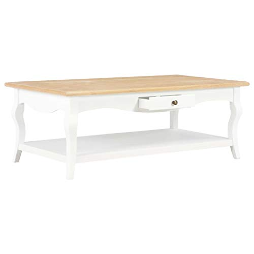 Lasamot Mesa de café Mesa de salón Mesa Auxiliar Mesa de Madera Mueble para Sala de Estar MDF Blanco + Color Madera Natural 110 × 60 × 40 cm