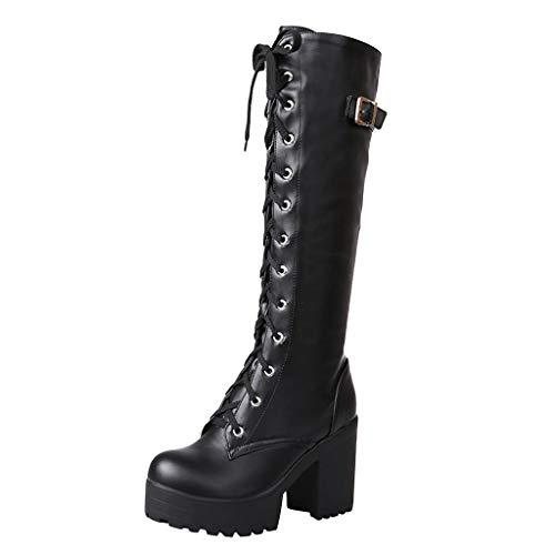 Damen Stiefel Sexy High Heel Schnürung Dickes Plateau Knie Quadratischer Absatz Stiefel Schneestiefel Schuhen (40 EU,Schwarz)