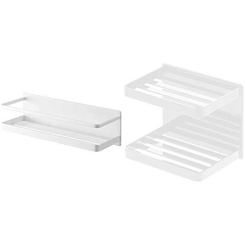 Yamazaki Industries Bathroom Rack, White, Approx. W 11.0 x D 3.7 x H 3.1 inches (28 x 9.5 x 8 cm), MIST 4237 & Magnetic Soap Rest, White, Approx. W 4.7 x D 3.9 inches (12 x 8.5 x 10 cm), Set Purchase