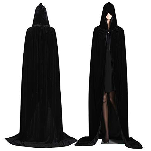 WZYX Halloween Larga Capa de Vampiro Diablo de Terciopelo con Capucha para Disfraz de Fiesta Halloween y Carnaval,para Adulto Mujeres Hombres (Negra)