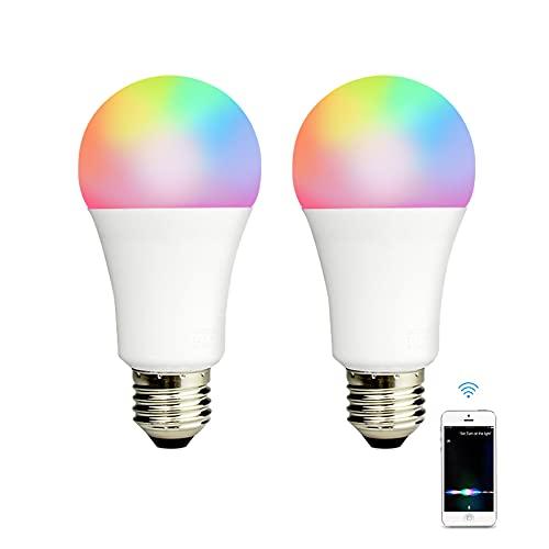 Benexmart Apple Homekit Bombilla de luz LED inteligente E27 Tuya WiFi Lámpara regulable RGBCW Sincronización de música Siri Alexa Google Home Voice Control (2 pack)