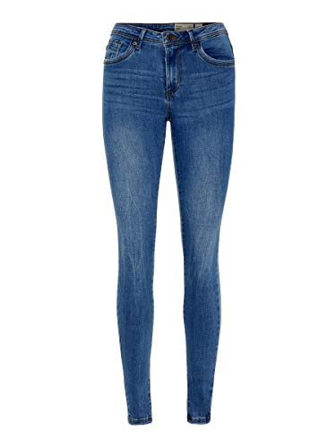 Vero Moda VMTANYA MR S Piping Jeans VI349 Noos Skinny, Blu (Medium Blue Denim Medium Blue Denim), 36/ L32 (Taglia Unica: Small) Donna