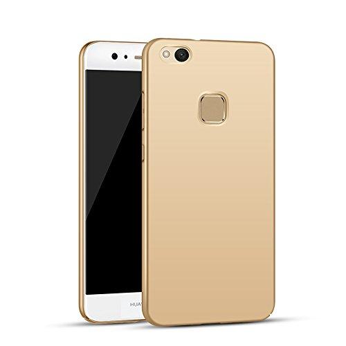 Apanphy Huawei P10 Lite Hülle, Hohe Qualität Ultra Slim Harte Seidig Und Shell Volle Schutz Hinten Haut Fühlen Schutzhülle für Huawei P10 Lite, Gold