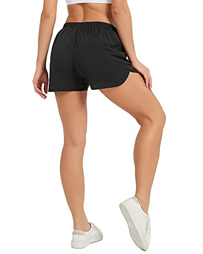 Stelle Women's 3'/4' Running Shorts Gym Athletic Quick-Dry Shorts with Pockets (Open Leg Style-3'-Black, X-Small)