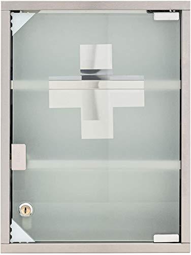 Armario botiquín de acero inoxidable con llave y cristal satinado 30x12x45h cm