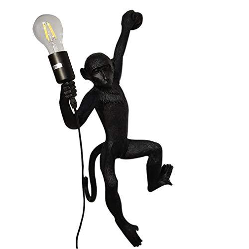 DYJD AFFE lamp, hars Monkey wandlamp, AFFE-lamp-verlichting, geschikt voor eetkamer, slaapkamer, studio, hanglamp, zwart
