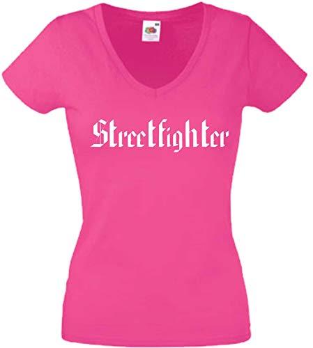 JINTORA T-Shirt - Chemise Femme Rose - V-Cou - Taille XXL - Street Fighter - JDM/La Coupe - pour la fête Carnaval Travail et Loisirs