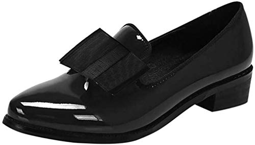 Damen Mokassins Spitz Loafer Flache Schuhe aus Lackleder mit Schleife, Frauen Geschlossene Ballerinas Elegante Slipper Bequeme Damenschuhe Casual Slip-Ons Celucke (Schwarz, 39 EU)