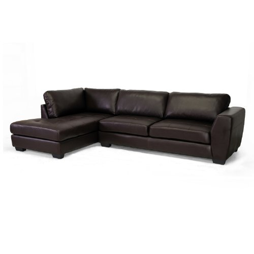 Hot Sale Baxton Studio Orland Leather Modern Sectional Sofa Set with Left Facing Chaise, Brown