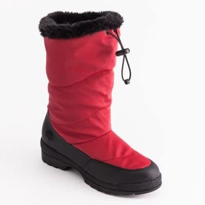 Womens SWAN RED Waterproof Shell Insulated Thermolite red & Black Winter Snow Boots Size 8 med