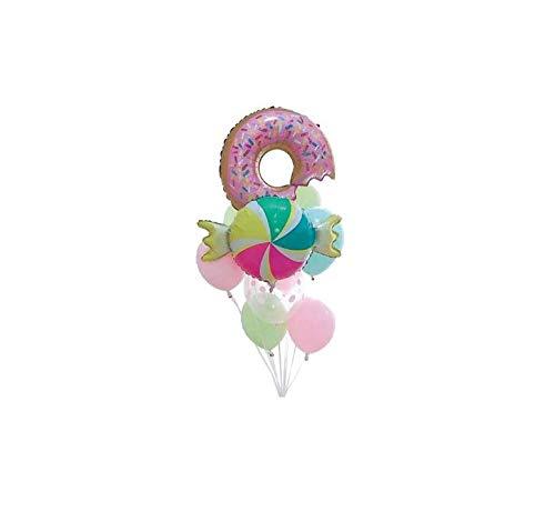 takestop® ballonnen set 9 stuks 1 donut 1 karamel 6 kleurrijke roerstaafjes CC41144 kleurrijke latex, meerkleurig