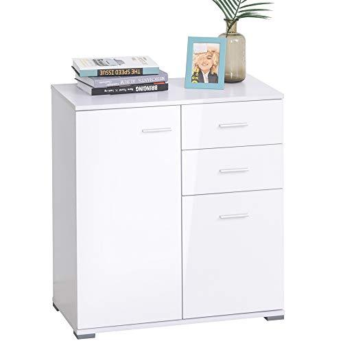 HOMCOM Modern High Gloss Side Cabinet Table Sideboard Chest of Drawer Bedroom Living Room Storage Furniture (White