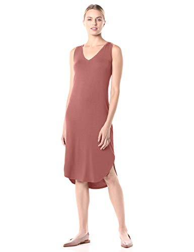 Amazon Brand - Daily Ritual Women's Jersey Sleeveless V-Neck Midi Dress, Dusty Pink, Large