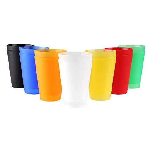 S&S-Shop 7 Plastik Trinkbecher 0,4 l - Mix Paket - Mehrwegtrinkbecher/Partybecher/Becher